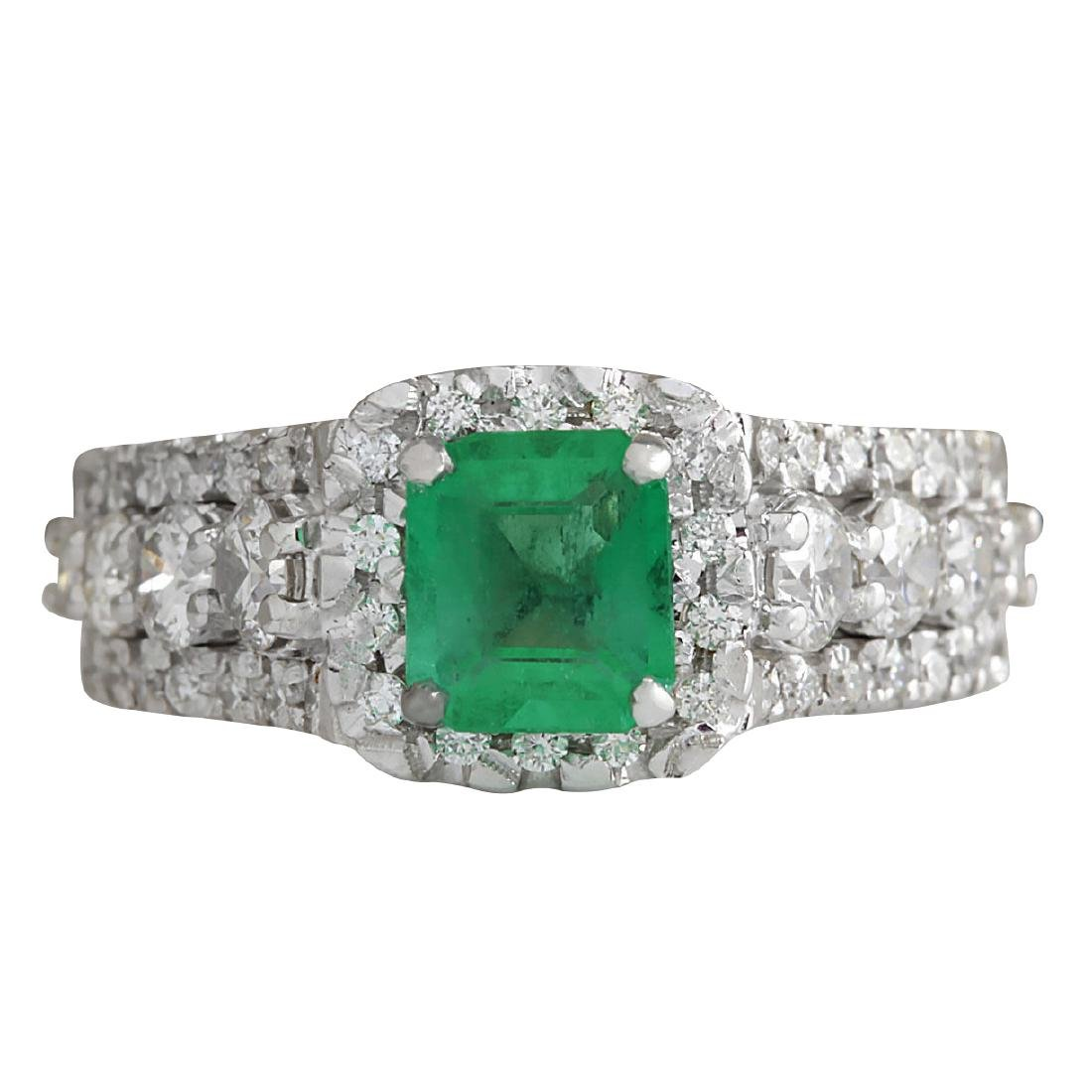 3.30CTW Natural Emerald Diamond Ring 18K Solid White
