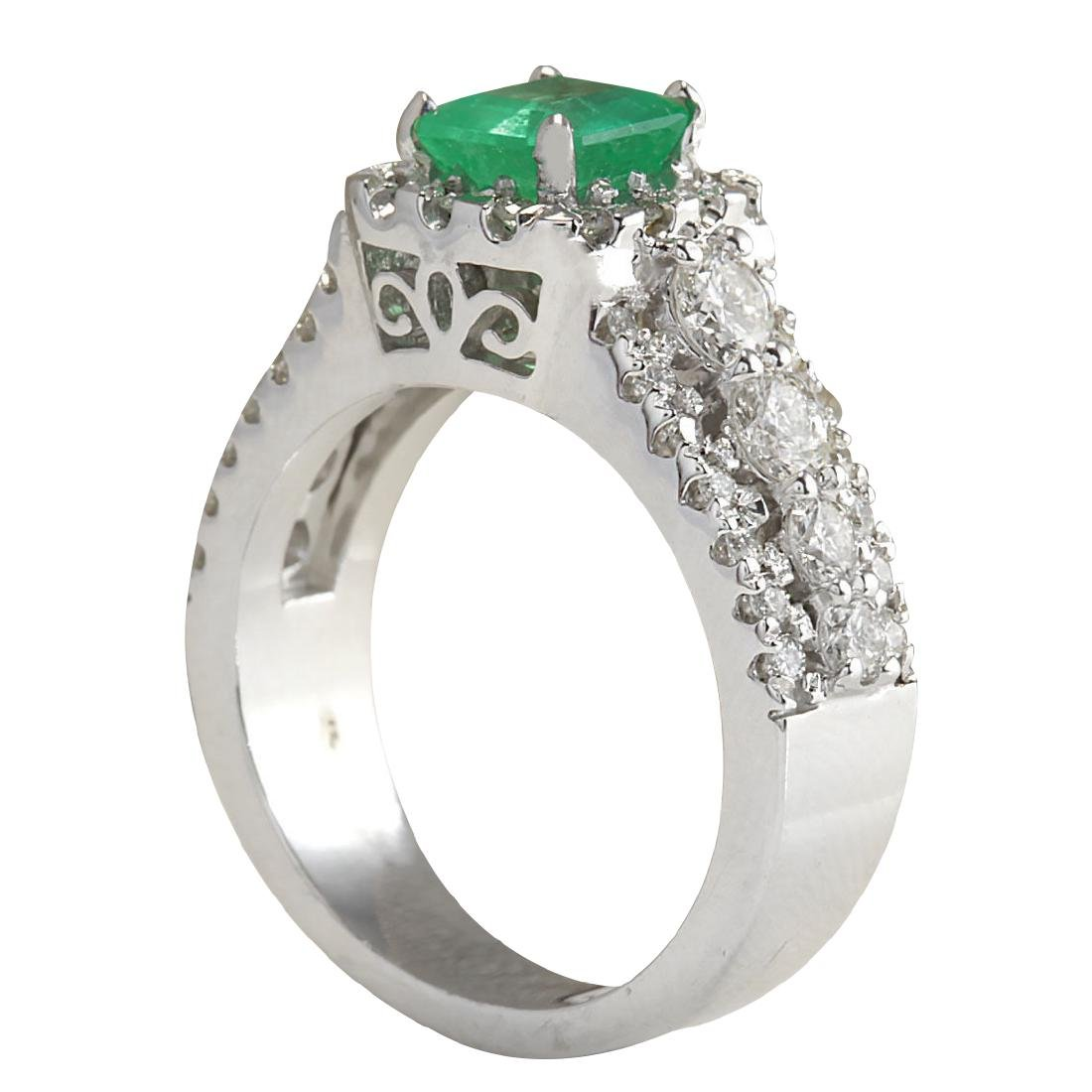 3.30CTW Natural Emerald Diamond Ring 18K Solid White - 3