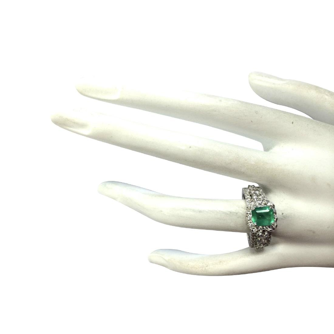 3.30CTW Natural Emerald Diamond Ring 18K Solid White - 4