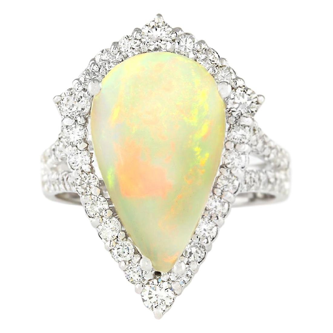 6.04 CTW Natural Opal And Diamond Ring In 18K White