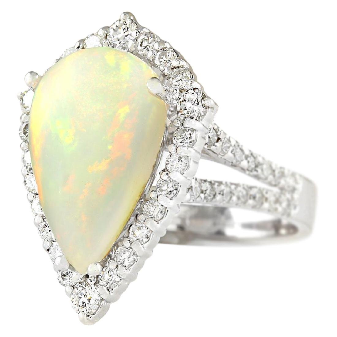 6.04 CTW Natural Opal And Diamond Ring In 18K White - 2