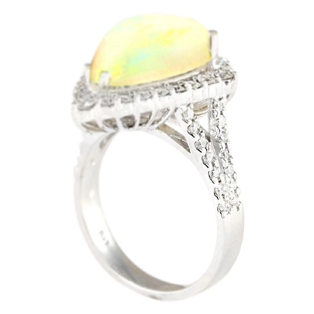 6.04 CTW Natural Opal And Diamond Ring In 18K White - 3