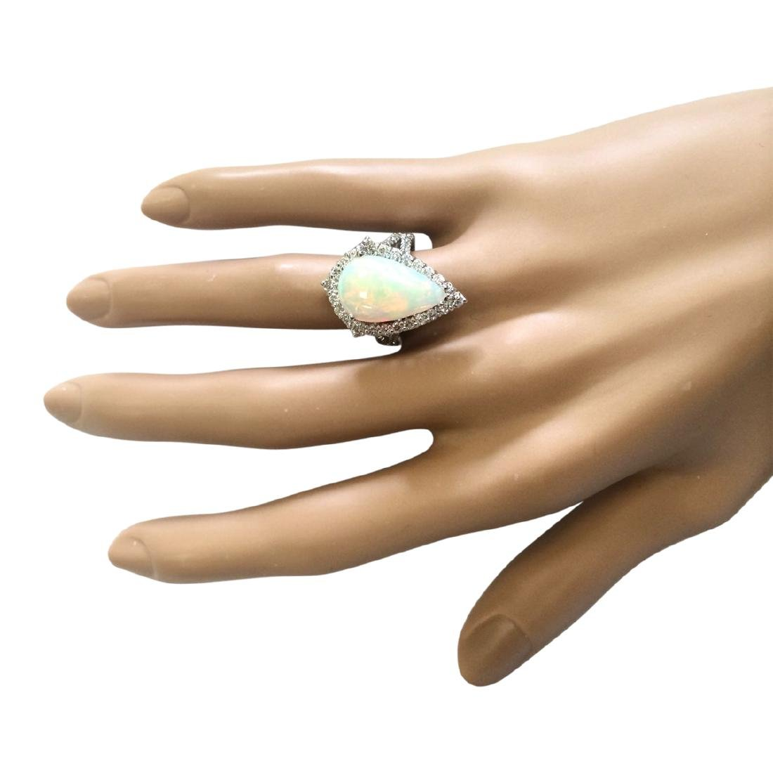 6.04 CTW Natural Opal And Diamond Ring In 18K White - 4