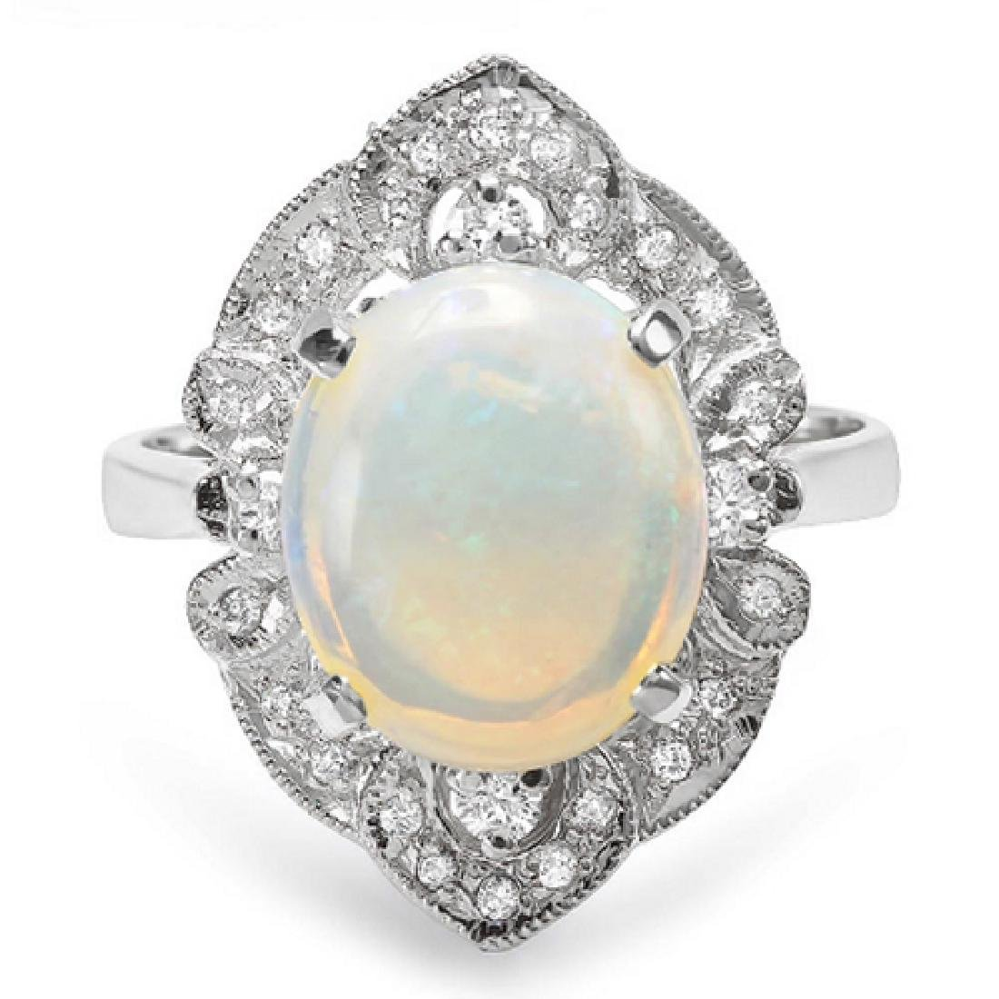 3.15 Carat Natural Opal 18K Solid White Gold Diamond