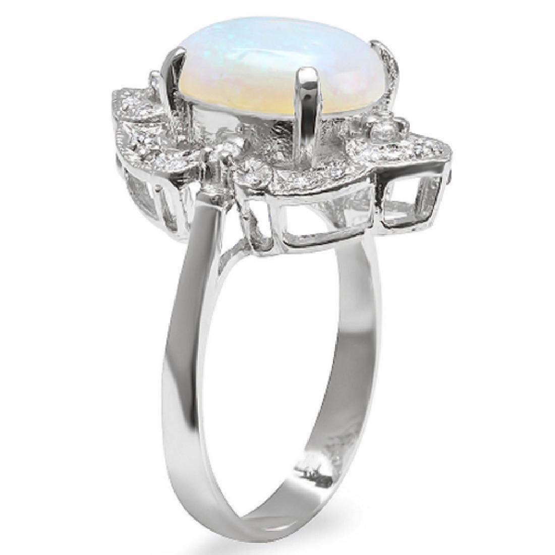 3.15 Carat Natural Opal 18K Solid White Gold Diamond - 2