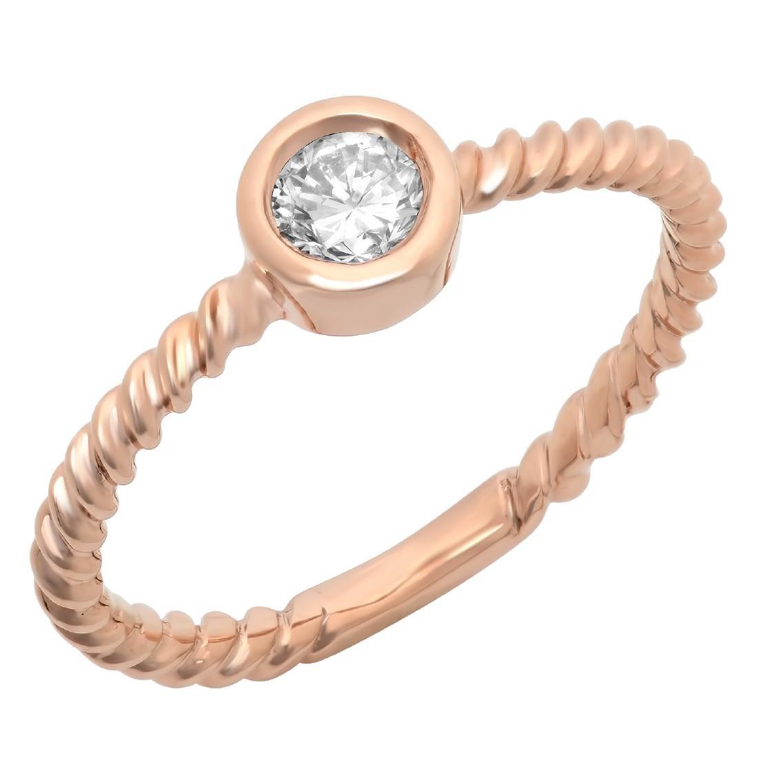 0.30 Carat Natural Diamond 18K Solid Rose Gold Ring