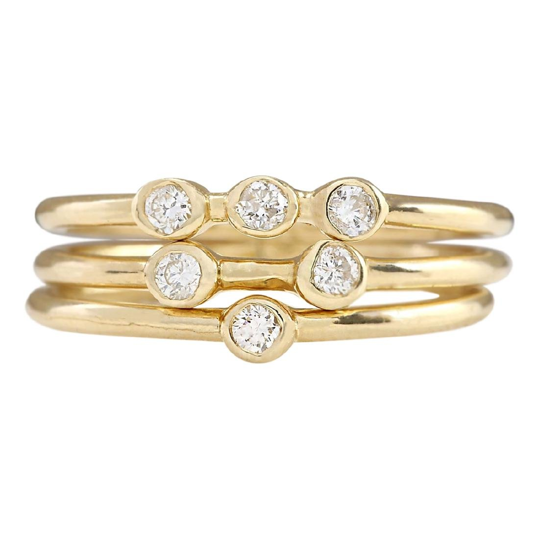 .24 CTW Diamond Ring In 18K Solid Yellow Gold