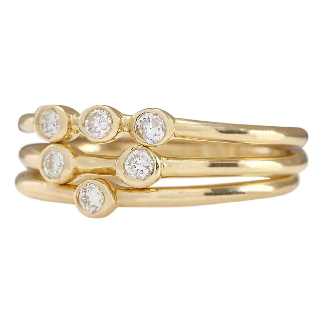 .24 CTW Diamond Ring In 18K Solid Yellow Gold - 2