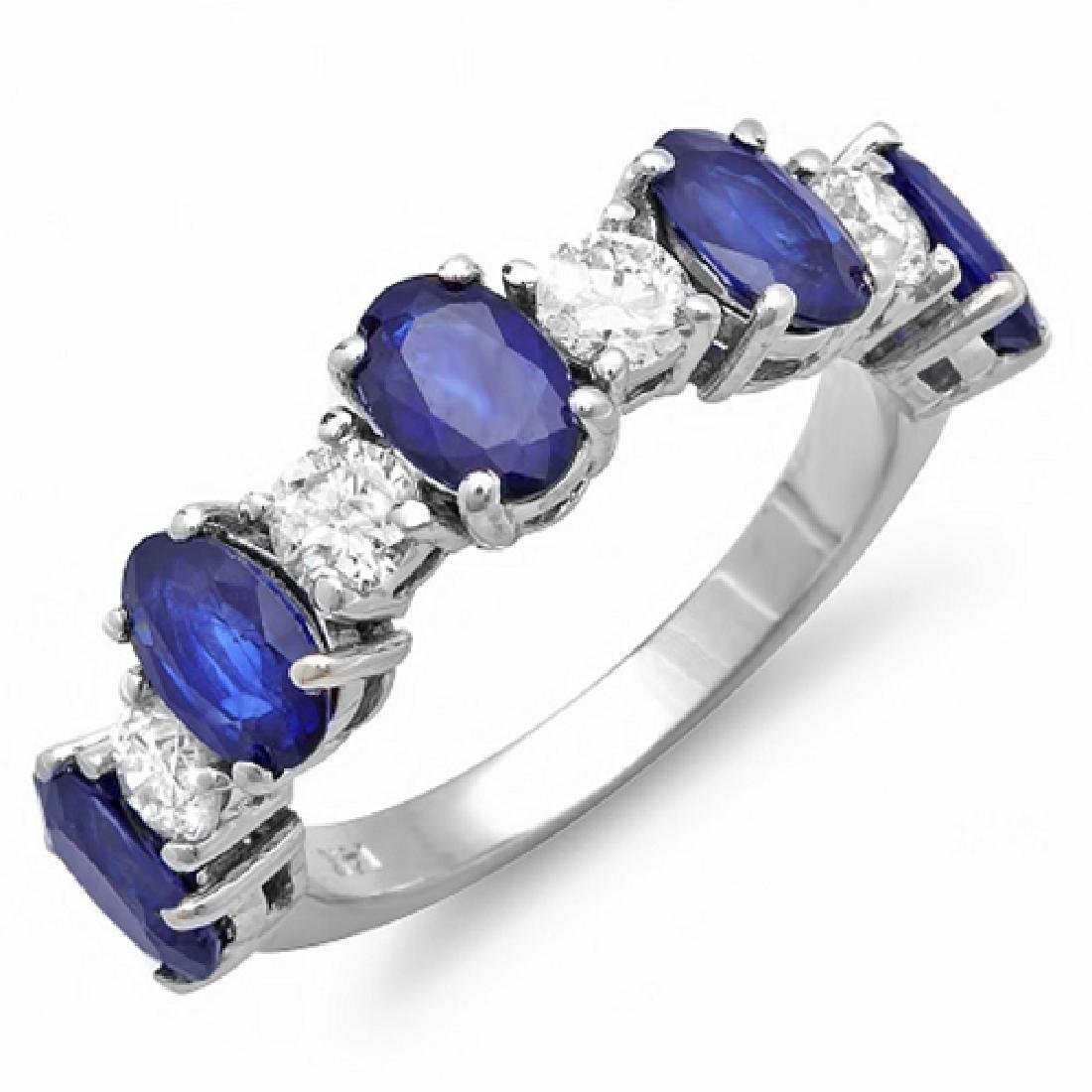 3.35 Carat Natural Sapphire 18K Solid White Gold