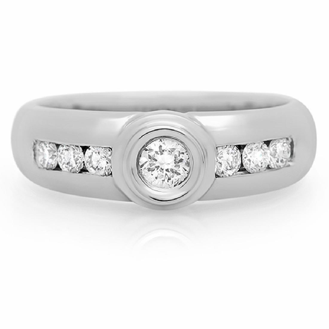 Mens 0.53 Carat Natural Diamond 18K Solid White Gold