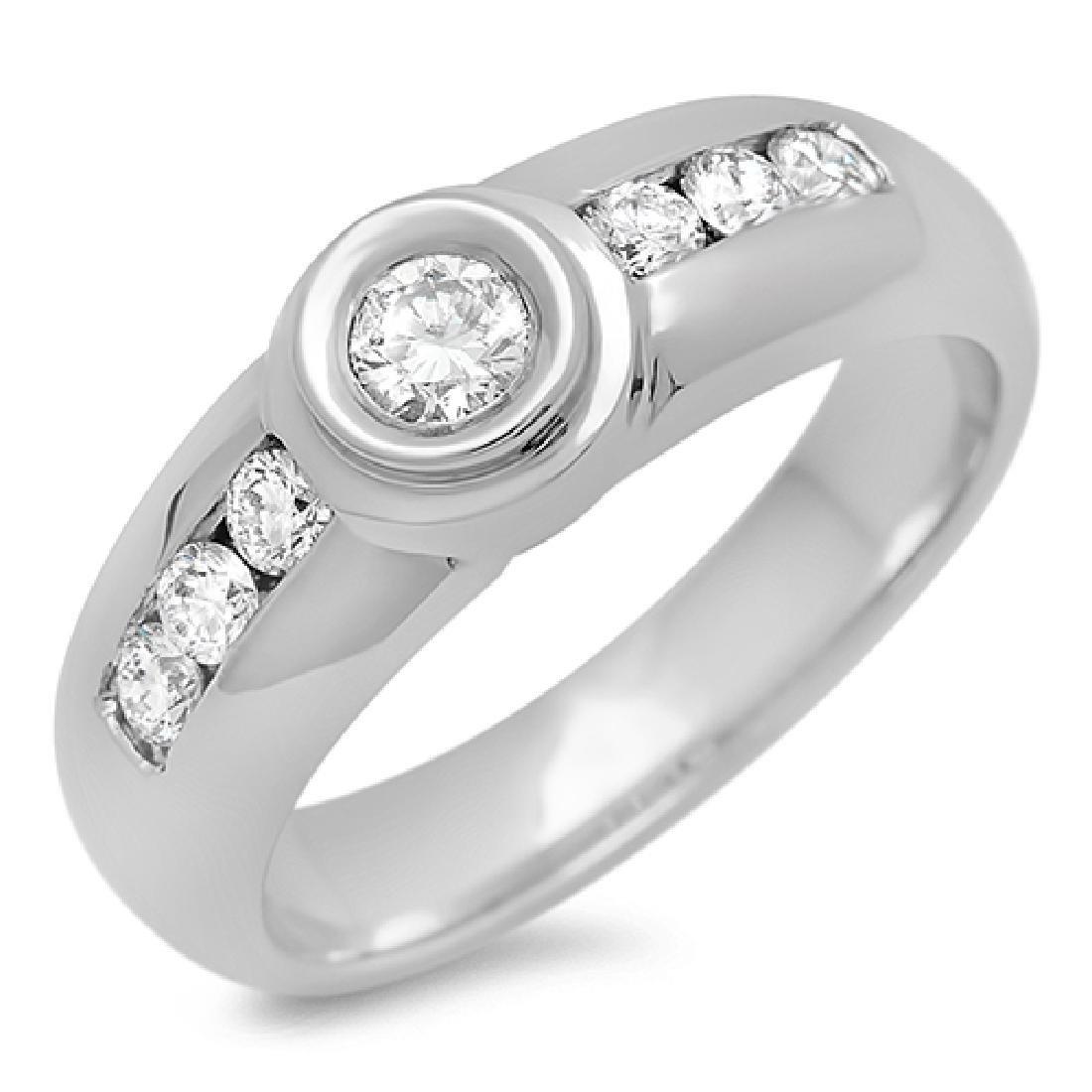 Mens 0.53 Carat Natural Diamond 18K Solid White Gold - 2