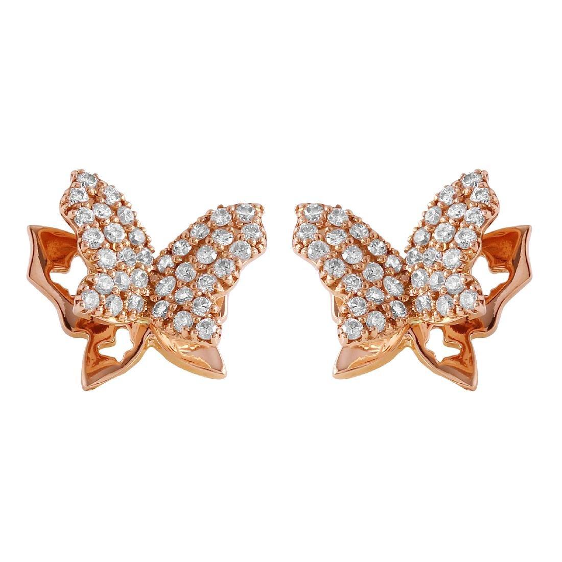 0.48 Carat Natural Diamond 18K Solid Rose Gold Earring