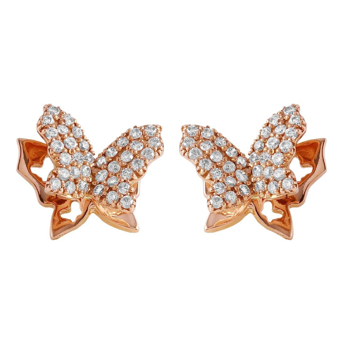 0.48 Carat Natural Diamond 18K Solid Rose Gold Earring