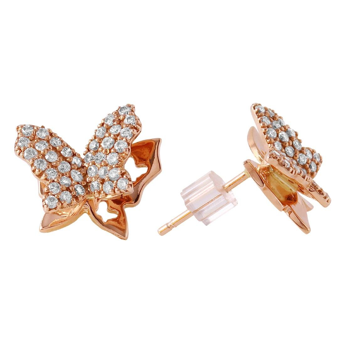 0.48 Carat Natural Diamond 18K Solid Rose Gold Earring - 2