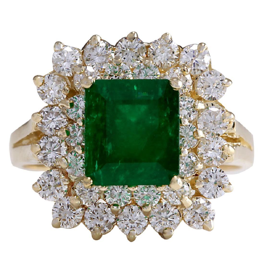 2.87CTW Natural Emerald And Diamond Ring 18K Solid