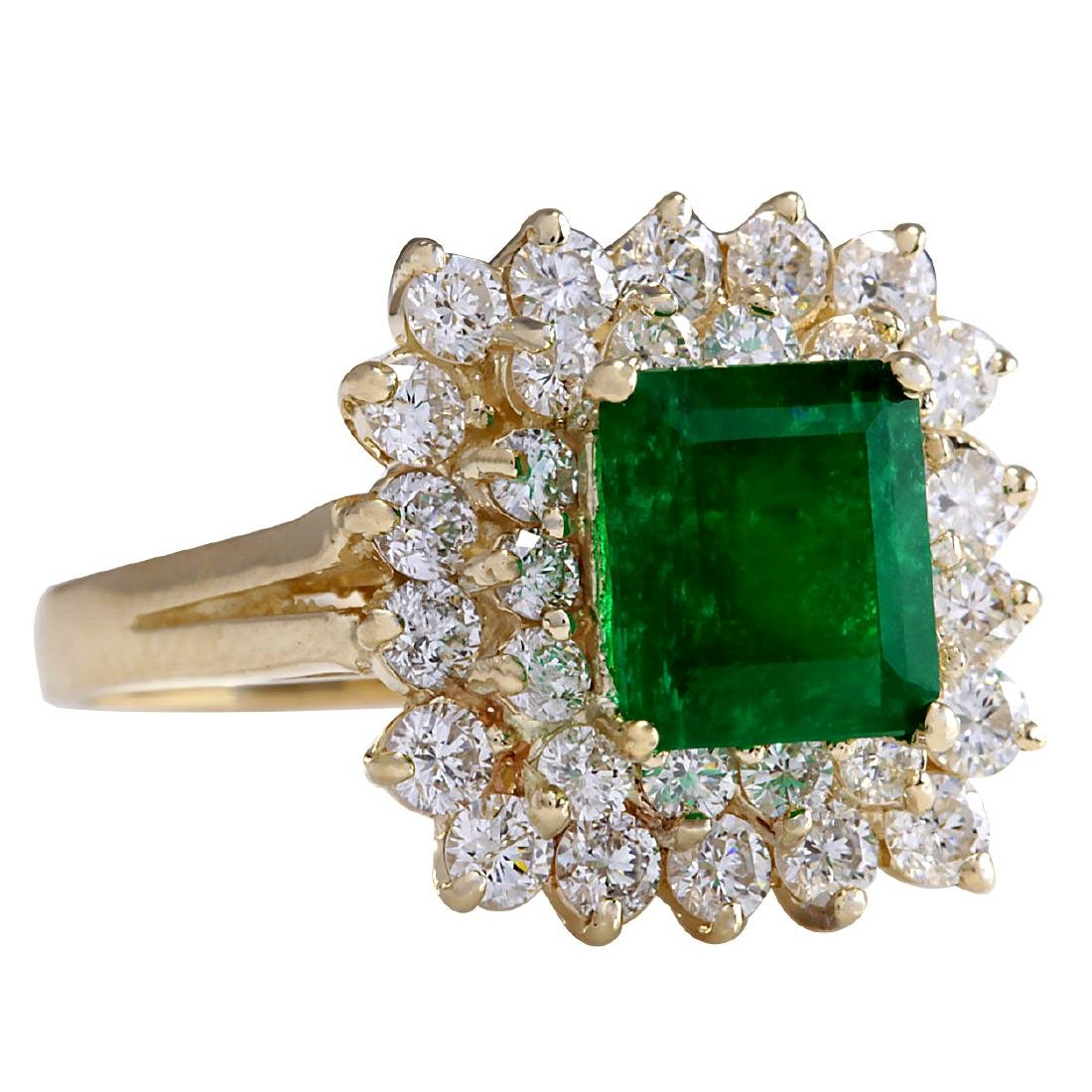 2.87CTW Natural Emerald And Diamond Ring 18K Solid - 2