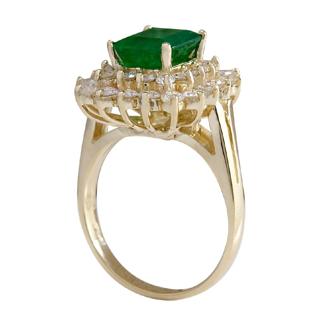 2.87CTW Natural Emerald And Diamond Ring 18K Solid - 3