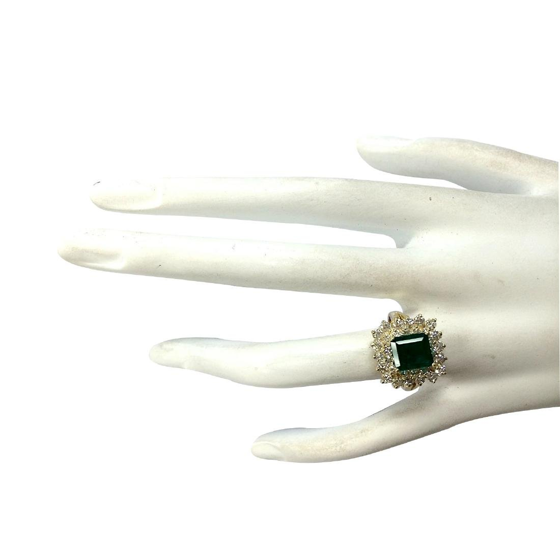 2.87CTW Natural Emerald And Diamond Ring 18K Solid - 4