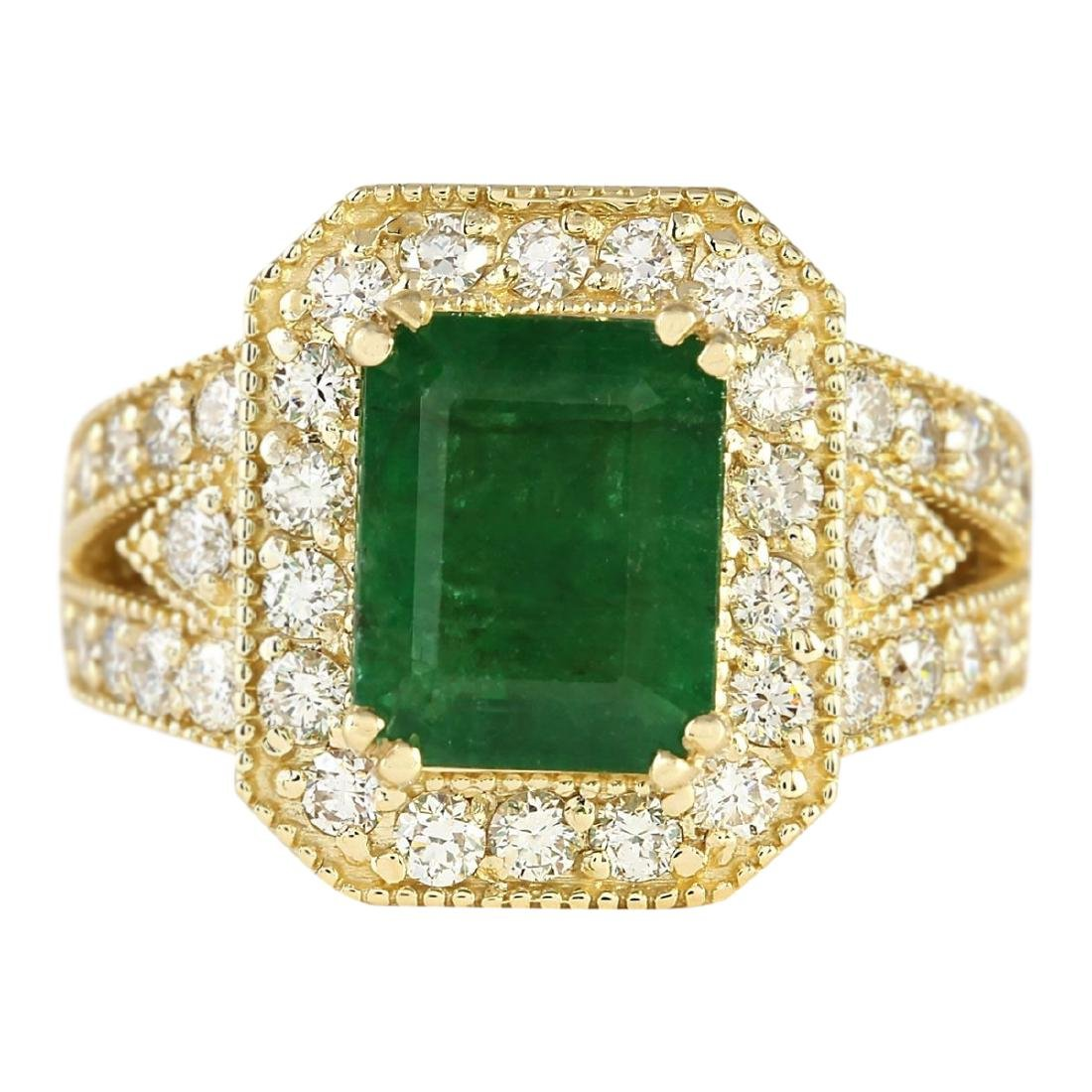 4.83 CTW Natural Emerald And Diamond Ring In 18K Yellow