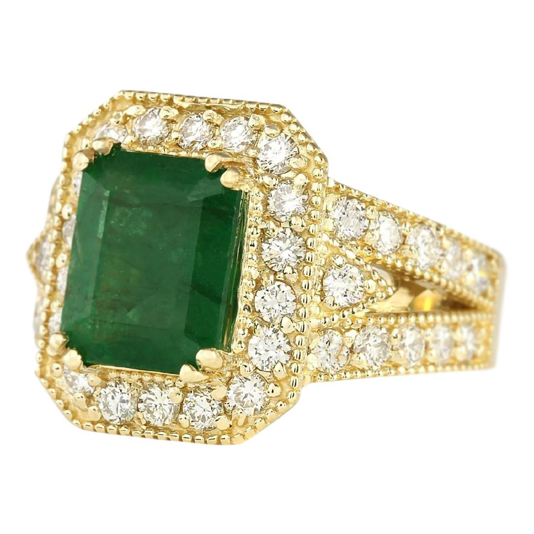 4.83 CTW Natural Emerald And Diamond Ring In 18K Yellow - 2