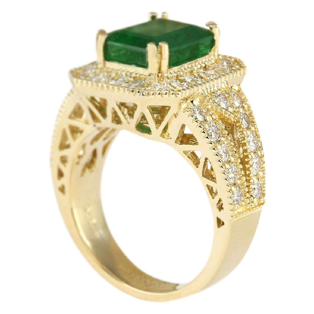 4.83 CTW Natural Emerald And Diamond Ring In 18K Yellow - 3