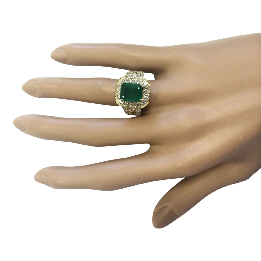 4.83 CTW Natural Emerald And Diamond Ring In 18K Yellow - 4