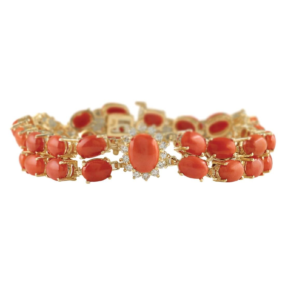 31.50CTW Natural Red Coral And Diamond Bracelet In 18K