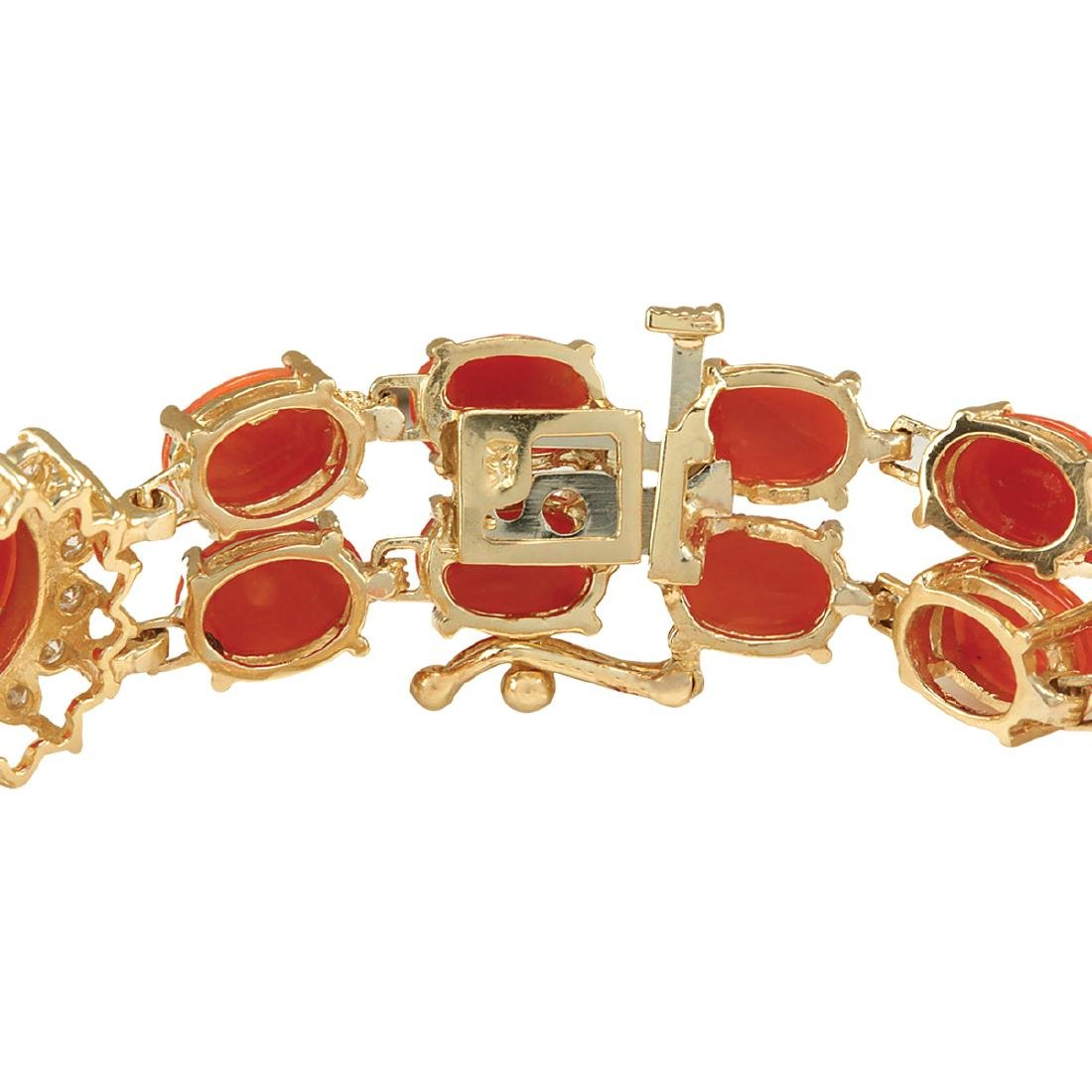 31.50CTW Natural Red Coral And Diamond Bracelet In 18K - 2