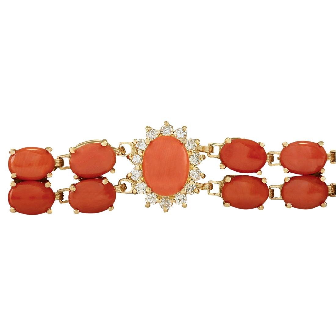 31.50CTW Natural Red Coral And Diamond Bracelet In 18K - 3