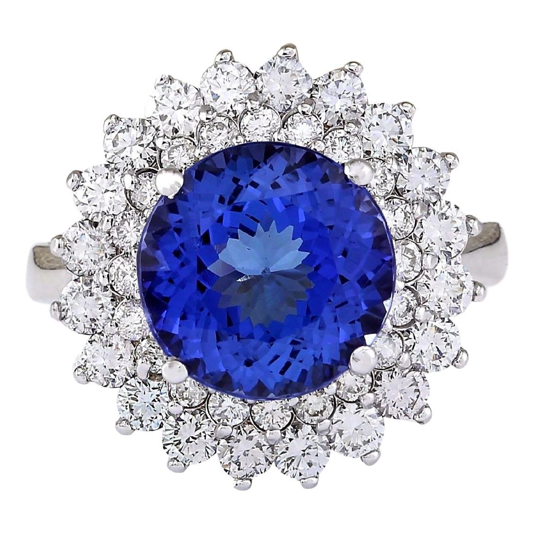 5.68 CTW Natural Blue Tanzanite And Diamond Ring 18K