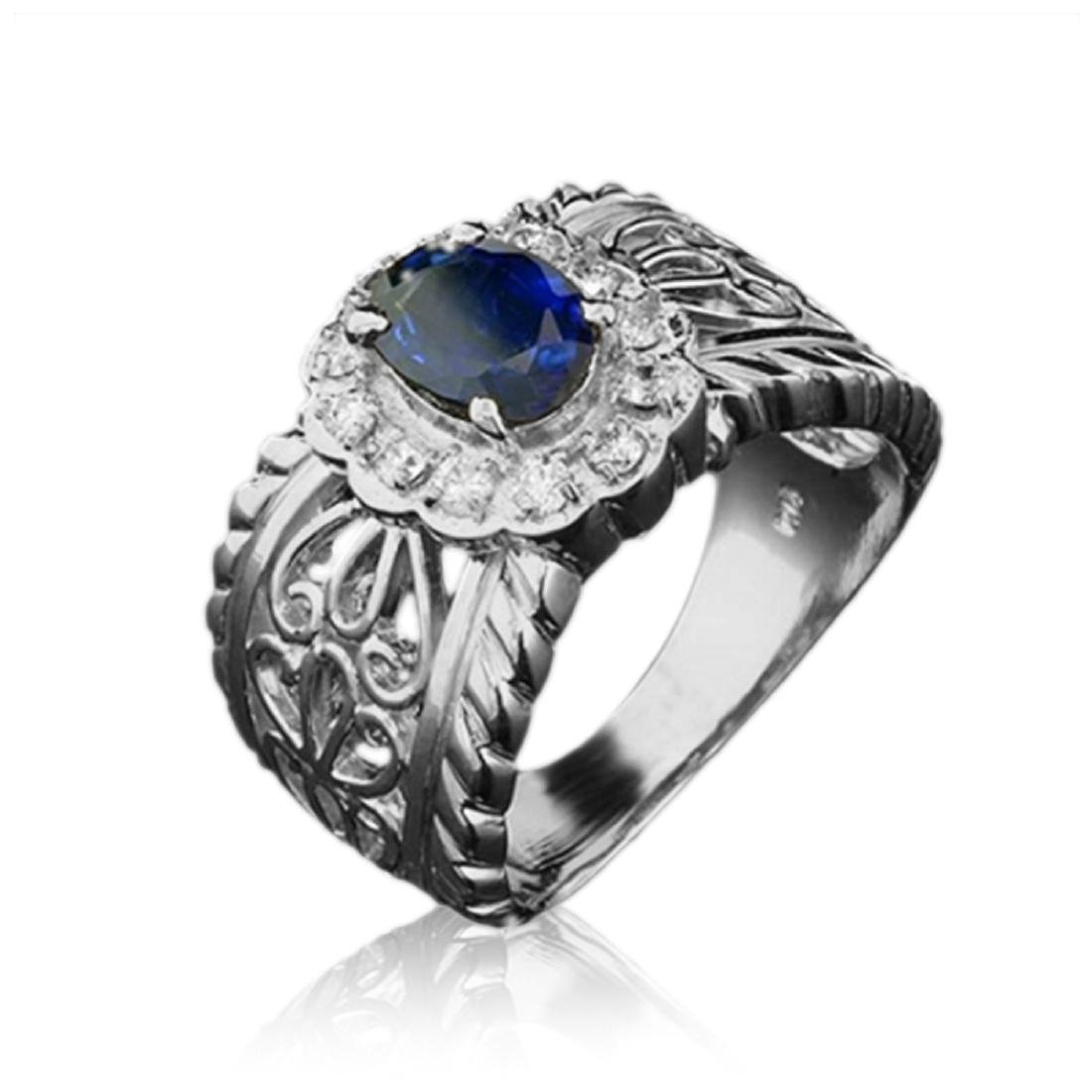 1.20 Carat Natural Sapphire 18K Solid White Gold