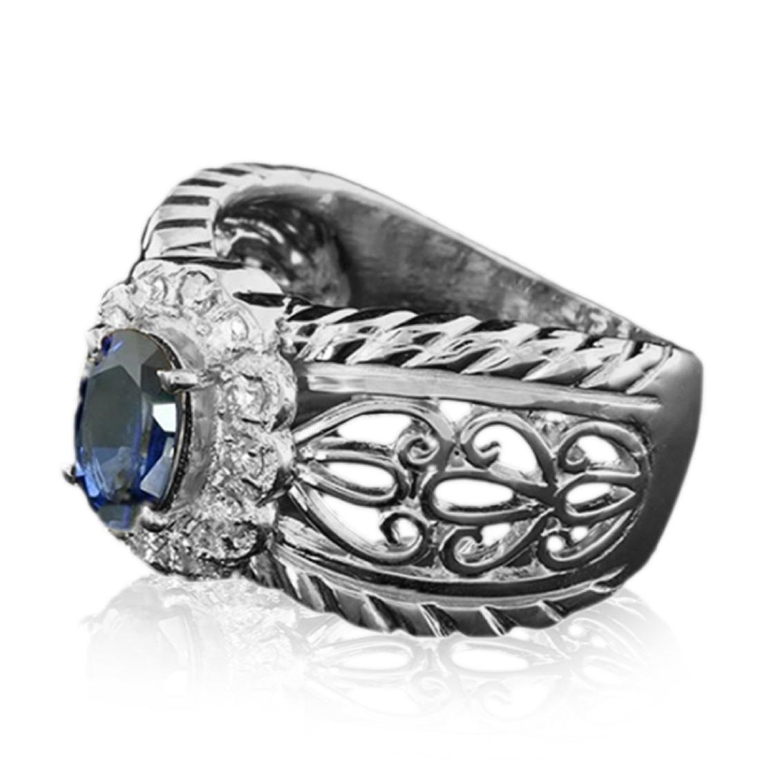 1.20 Carat Natural Sapphire 18K Solid White Gold - 2
