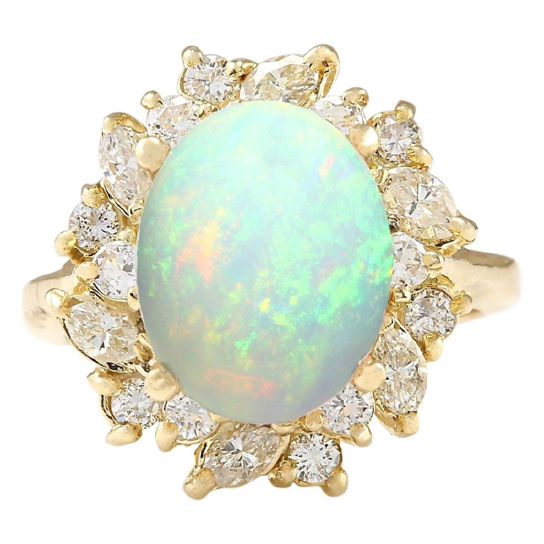 4.95 CTW Natural Opal And Diamond Ring In 18K Yellow