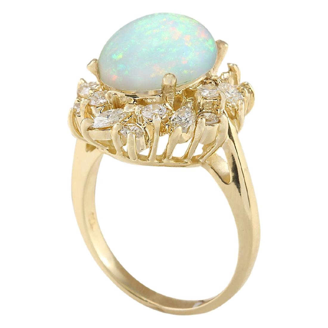 4.95 CTW Natural Opal And Diamond Ring In 18K Yellow - 3