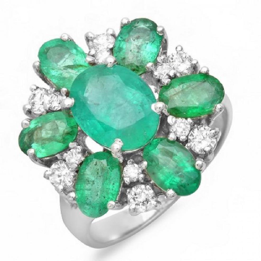 4.36 Carat Natural Emerald 18K Solid White Gold Diamond