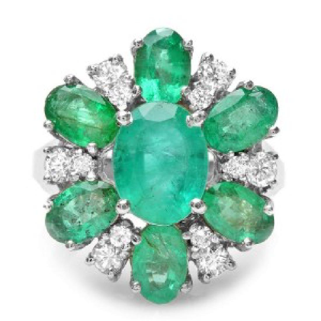 4.36 Carat Natural Emerald 18K Solid White Gold Diamond - 2