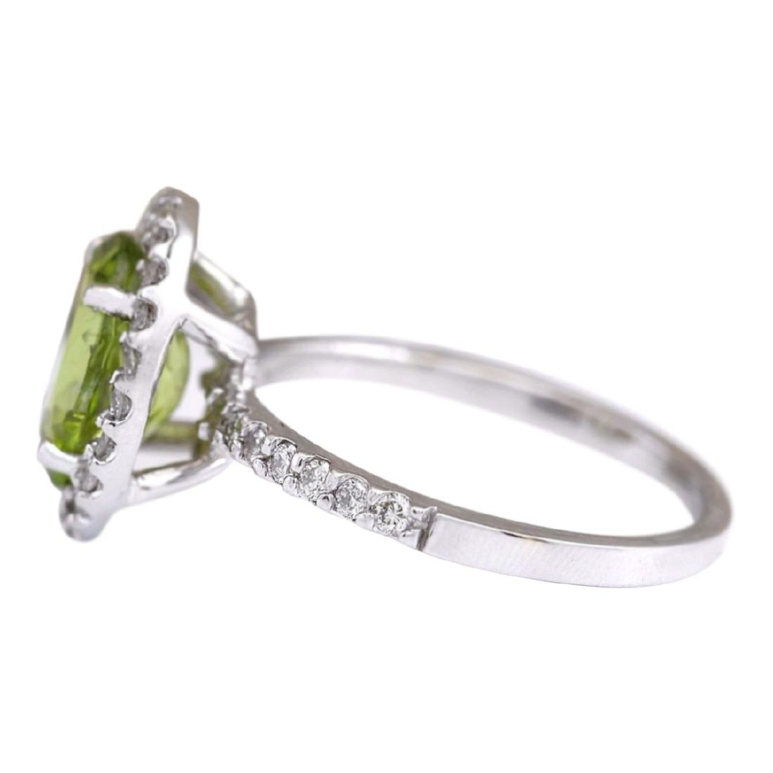 3.03 CTW Natural Peridot And Diamond Ring In 18K White - 2