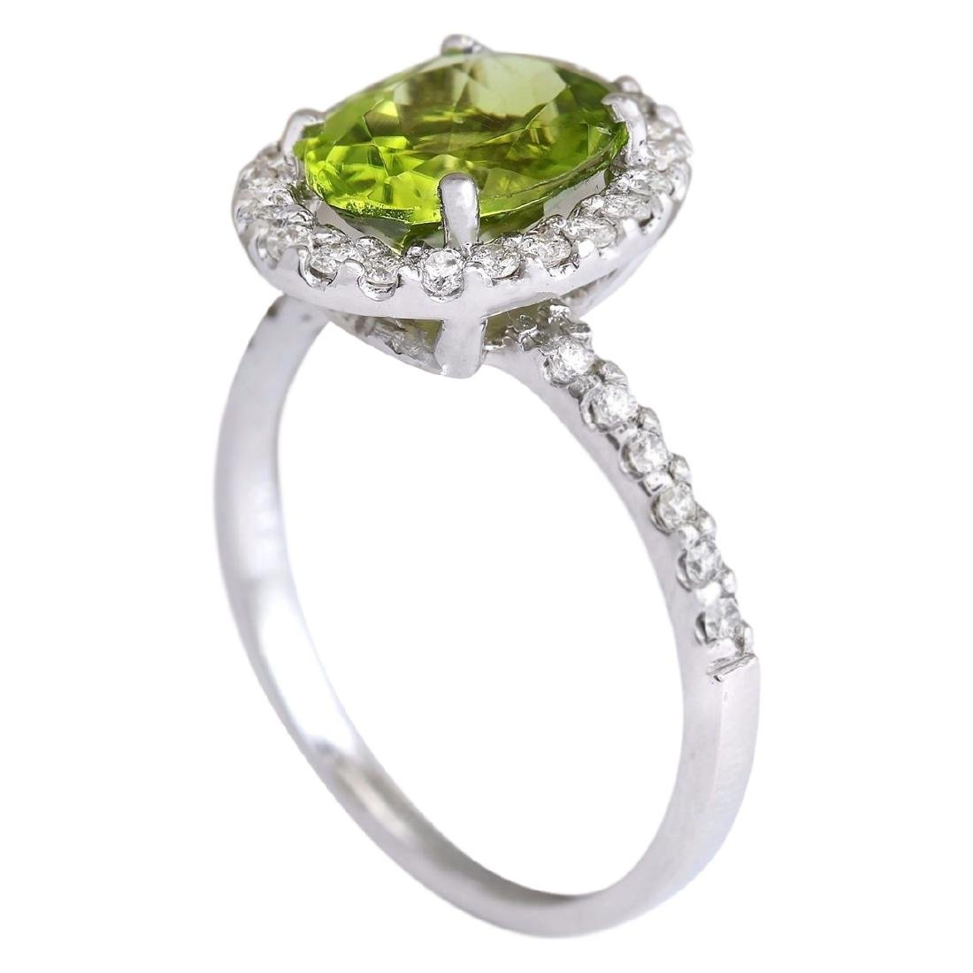 3.03 CTW Natural Peridot And Diamond Ring In 18K White - 3