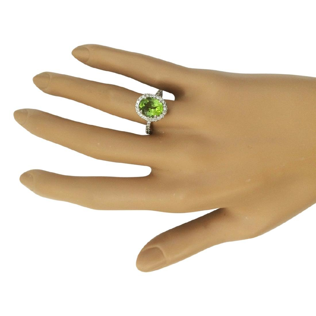 3.03 CTW Natural Peridot And Diamond Ring In 18K White - 4