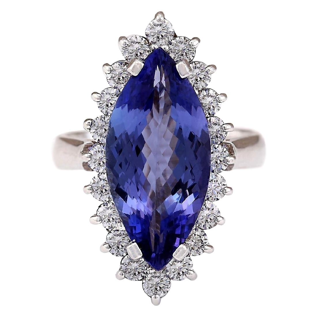 8.80 CTW Natural Blue Tanzanite And Diamond Ring 18K