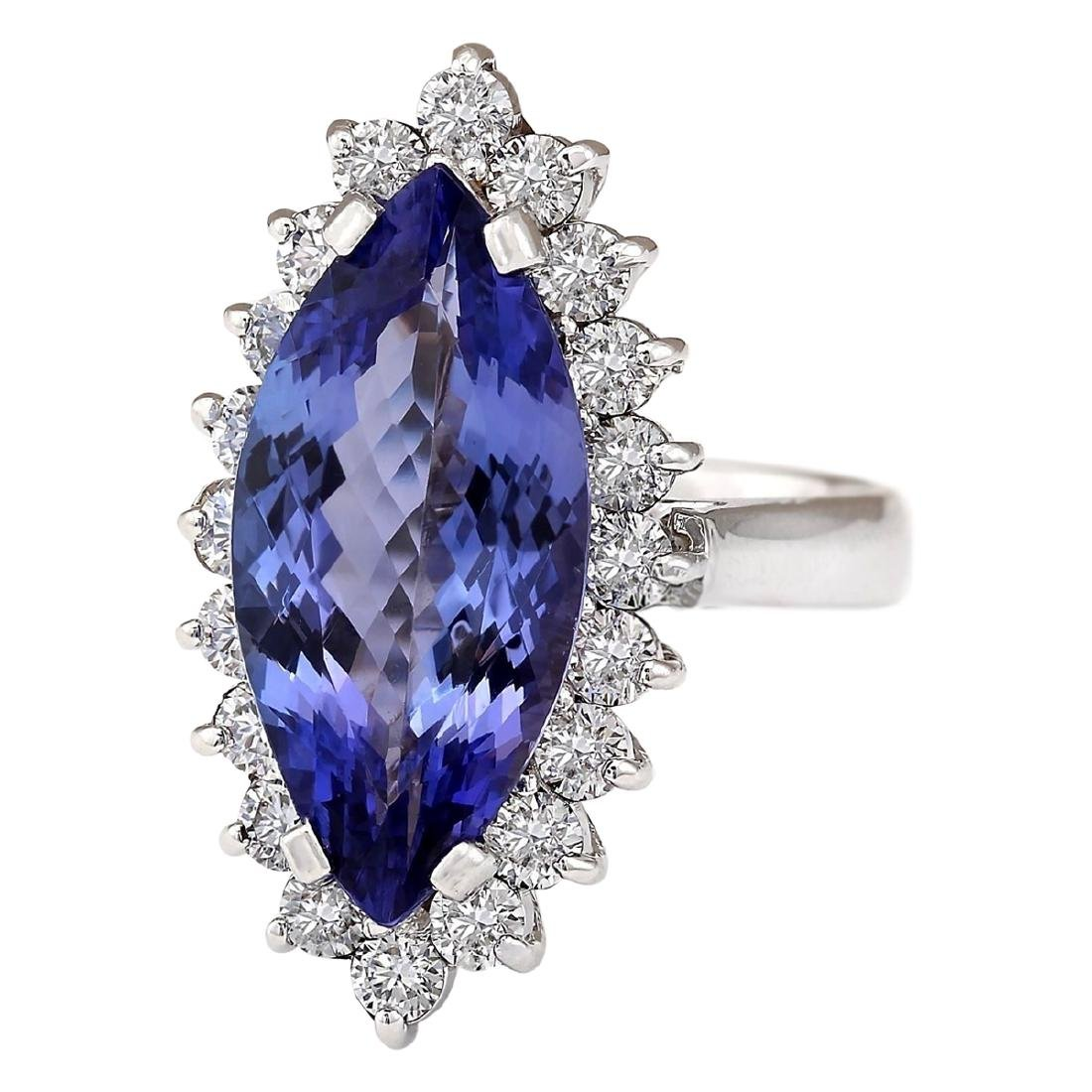 8.80 CTW Natural Blue Tanzanite And Diamond Ring 18K - 2