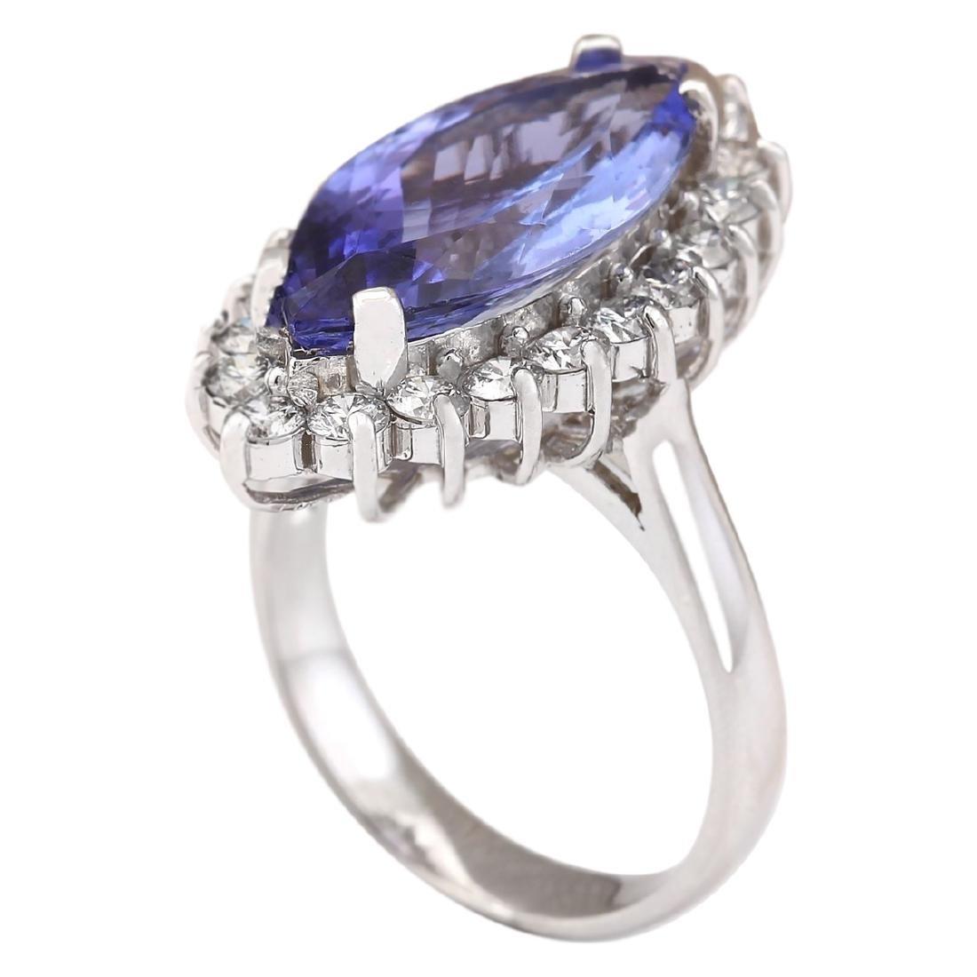 8.80 CTW Natural Blue Tanzanite And Diamond Ring 18K - 3