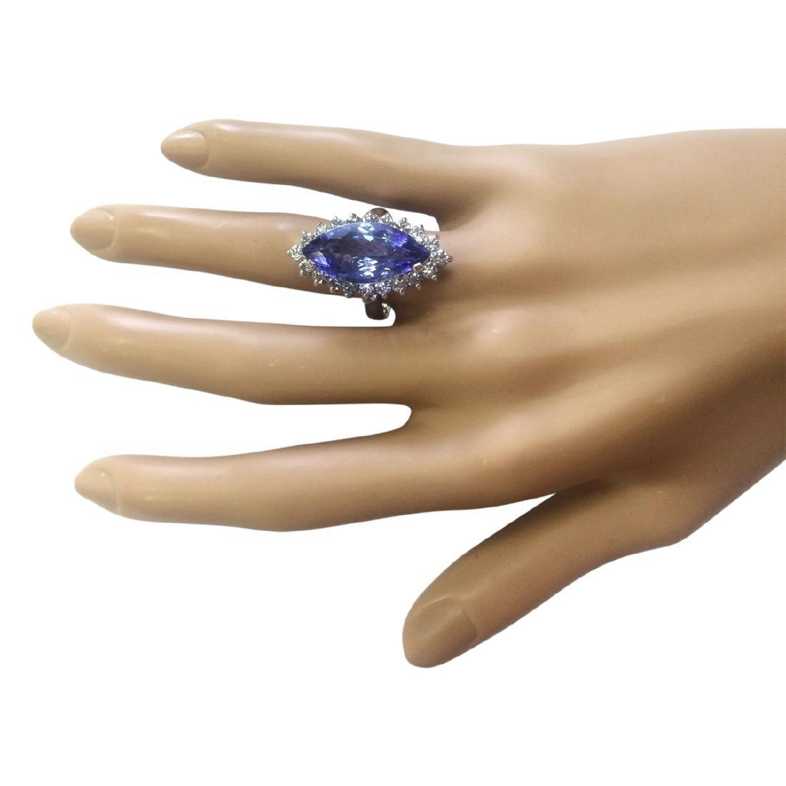 8.80 CTW Natural Blue Tanzanite And Diamond Ring 18K - 4