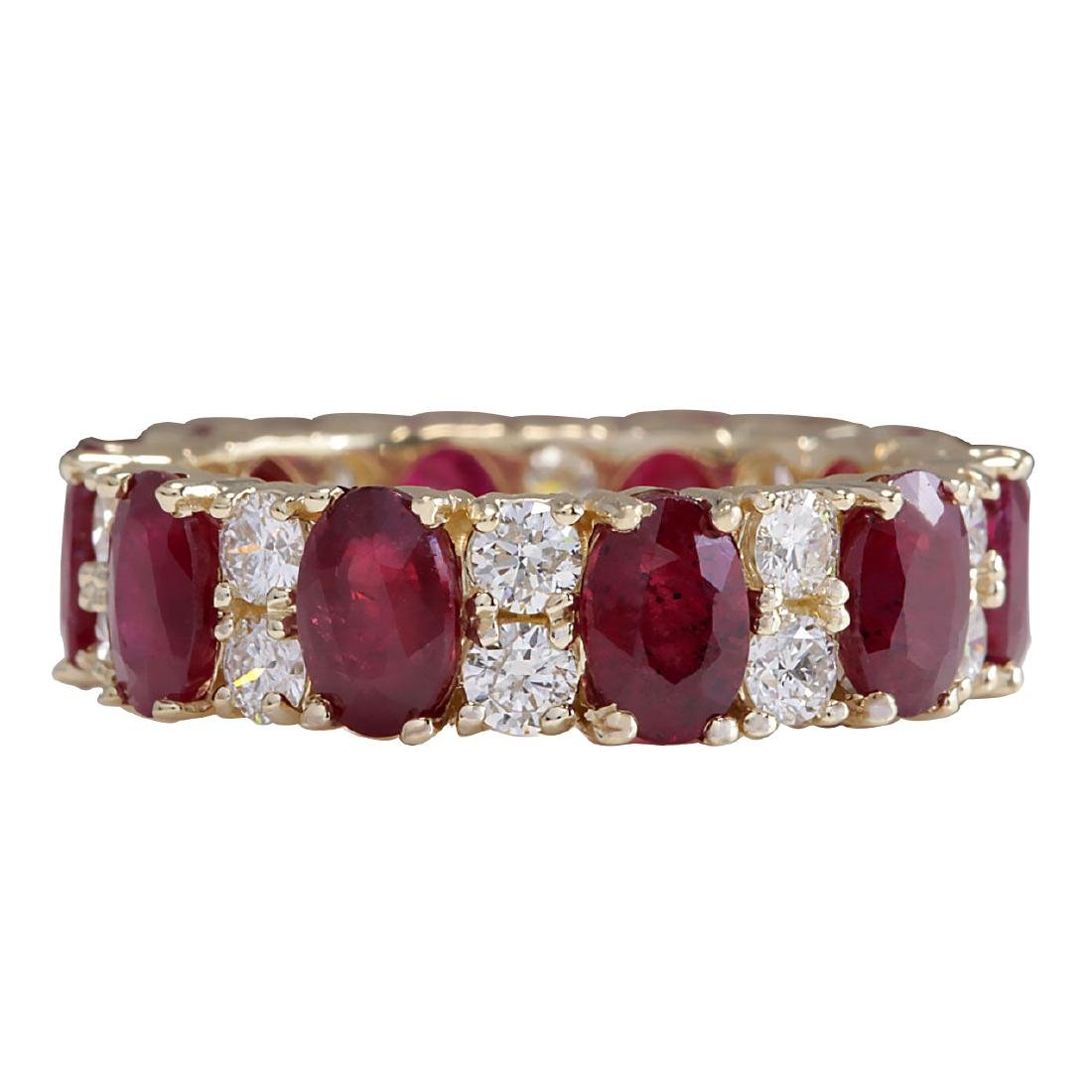 8.07CTW Natural Red Ruby Diamond Ring 18K Solid Yellow
