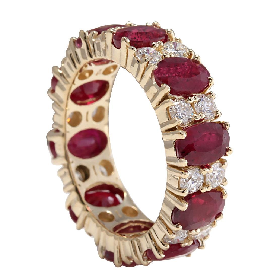 8.07CTW Natural Red Ruby Diamond Ring 18K Solid Yellow - 2