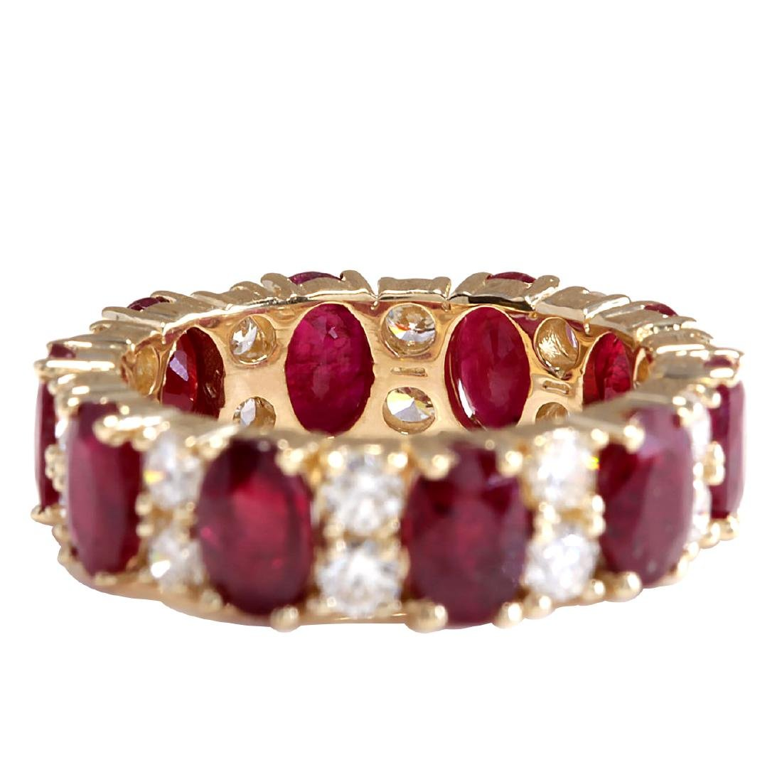8.07CTW Natural Red Ruby Diamond Ring 18K Solid Yellow - 3