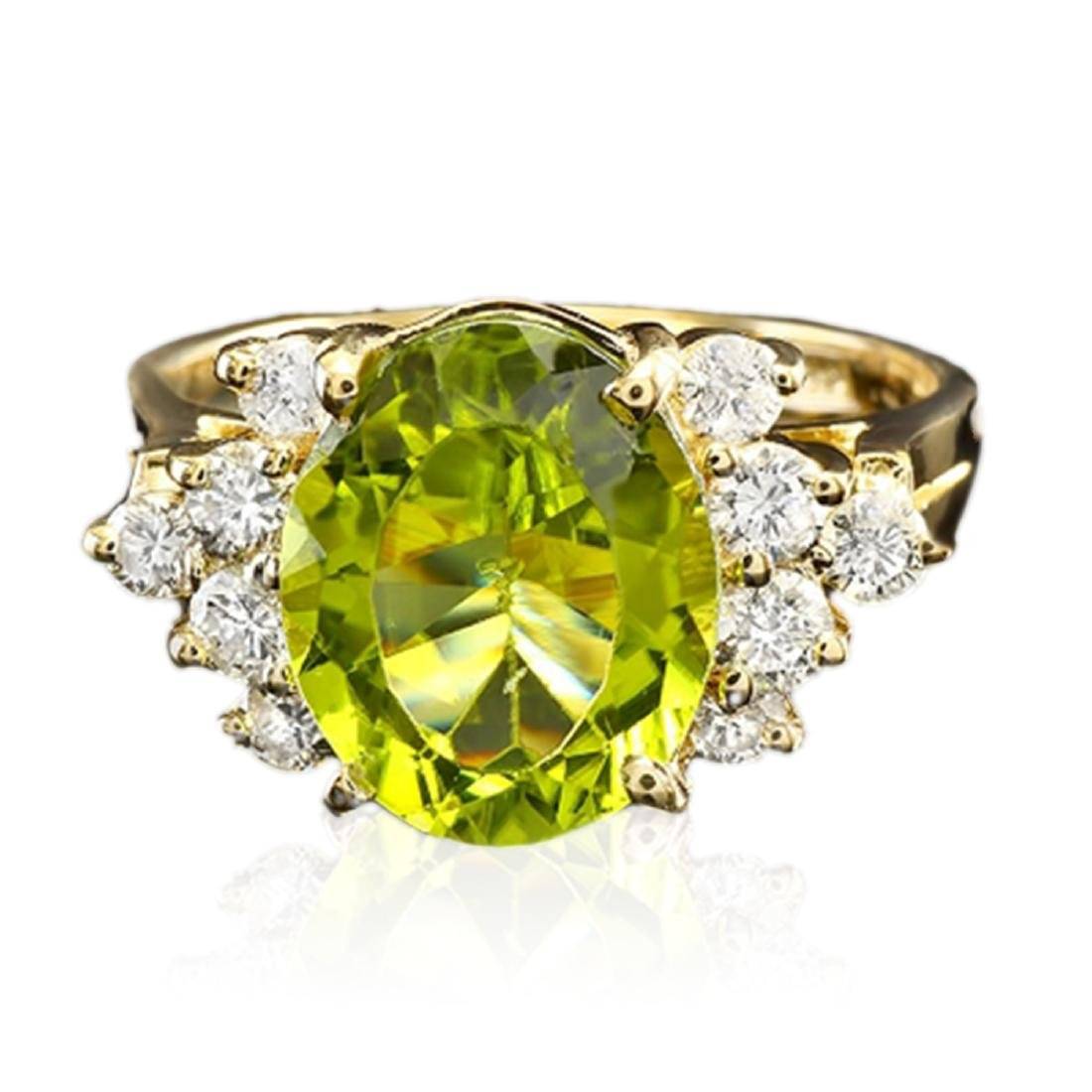 4.05 Carat Natural Peridot 18K Solid Yellow Gold