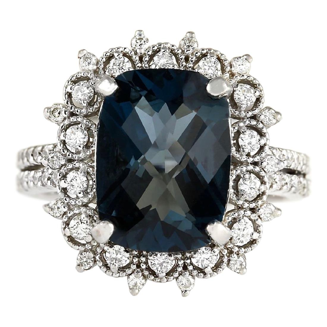 7.42 CTW Natural London Blue Topaz And Diamond Ring