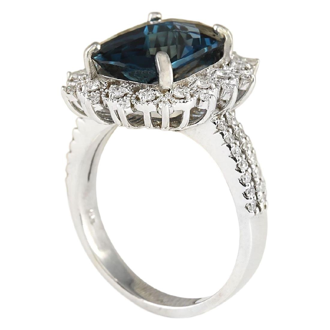 7.42 CTW Natural London Blue Topaz And Diamond Ring - 3
