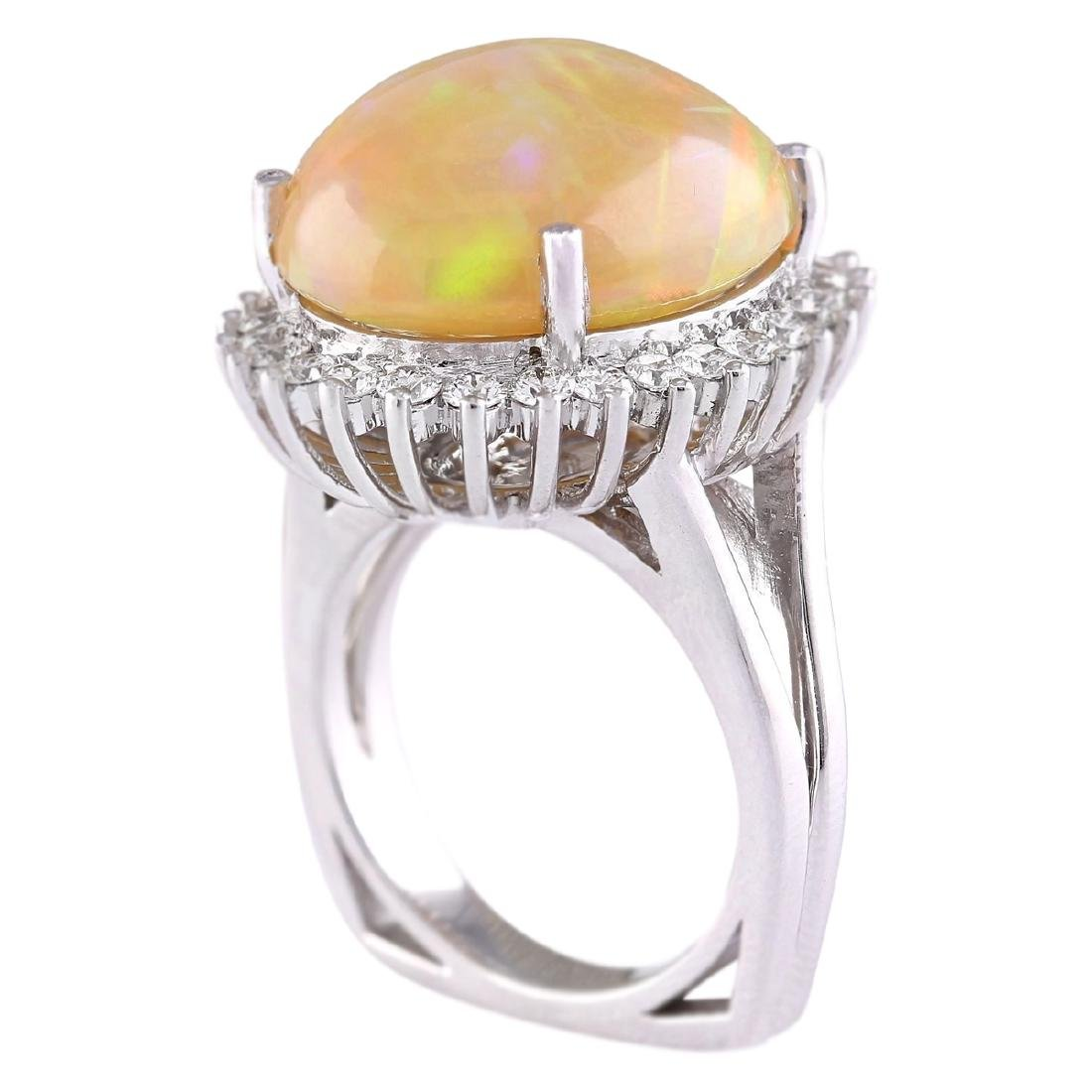 13.48 CTW Natural Opal And Diamond Ring In 18K White - 3
